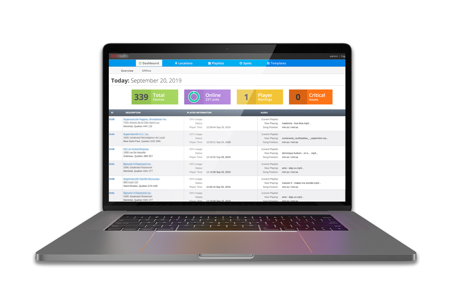 Image of dashboard page of enterprise software
